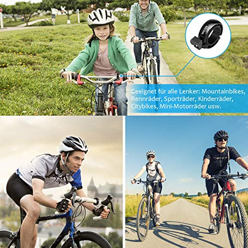 WOTEK Fahrradklingel, Innovative Mini Fahrradglocke Klingel Fahrrad 100dB Klingel laut, Aluminiumlegierung Fhradklingeln O Design Schwarz Fahrradhupe für Bike MTB Mountainbike, 22.2-31.8 mm Lenker - 6