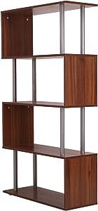 homcom Libreria da Ufficio Casa con 4 Ripiani Legno 80 × 30 × 145cm Noce