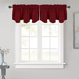 NICETOWN Blackout Valance Curtain for Bedroom - 52 inches x 18 inches Rod Pocket Valance Curtain Panel for Kitchen Decor on Christmas & Thanksgiving Day, Burgundy Red, Single Panel