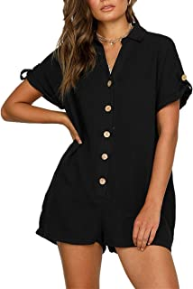 3c75879548c DeaQ Women s Summer Short Sleeve Romper Casual Loose Solid Short Button  Jumpsuits with Pockets