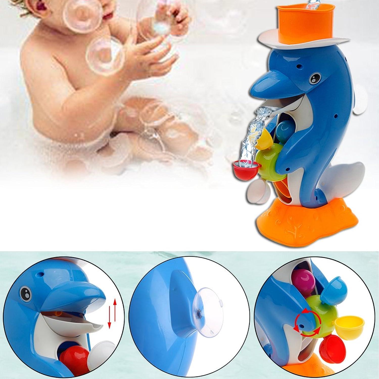 Manyao かわいいイルカバスシャワーホイールおもちゃ赤ちゃんキッズスプレーツールバスルームギフト