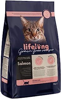 Marca Amazon Lifelong Alimento seco para gatos adultos con salmón fresco, receta sin cereales - 3kg