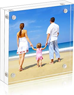 4x4 Clear Picture Frame, Double Sided Acrylic Photo Frames with Gift Box Package