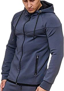 Men Hooded Jacket Solid Color Casual Sports Jacket Running Fitness Mountaineering Jacket Regular Fit Spring and Autumn Tra...
