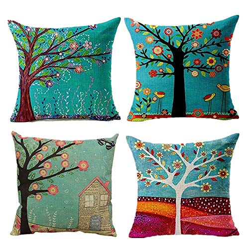 Hangood Cotton Linen Throw Pillow Case Cushion Covers Tree of Life 16 x 16 inches Set of 4pcs