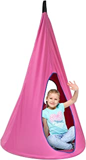 Sorbus Kids Nest Swing Chair Nook – Hanging Seat Hammock for Indoor Outdoor Use – Great for Children, All Accessories Included, 33 Inch (33 Inch, Nest Pink)