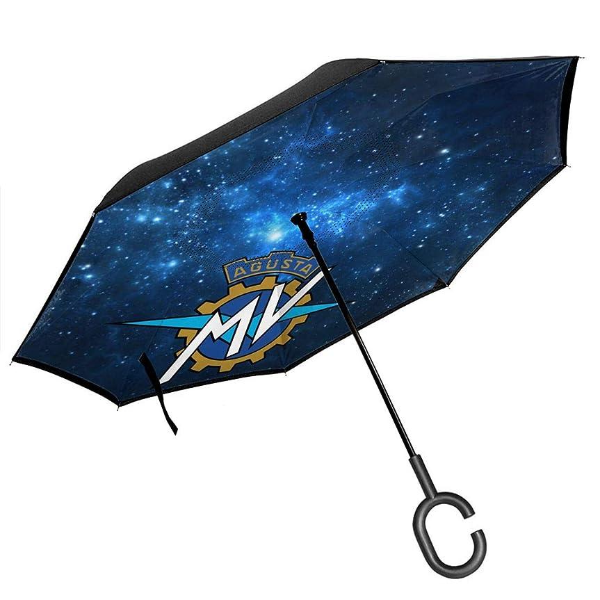 キノコ電話に出る読み書きのできないMV Agusta Logo イタリア MVアグスタ ロゴ 車の逆傘防風折りたたみ傘逆傘ファッション印刷UV保護レディースメンズ傘速乾C型ハンドル逆傘