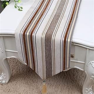 Wxiao Moderne Einfachheit Gestreifte Tischläufer for Weihnachtstischdecke Samt Rechteck Hochzeit Tischset for Speisetisch Color : Khaki, Size : 300 x 33 cm