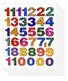 0 to 9 Colorful Decorative Sticker - Primary Number Digi Count Peel Label (Pack of 10 Sheets, Assorted Color)