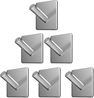 Wall Hooks Heavy Duty Adhesive Hooks Stainless Steel Hangers Nail Free Utility Hooks, Stick On Hook For Hanging Towel Clot...