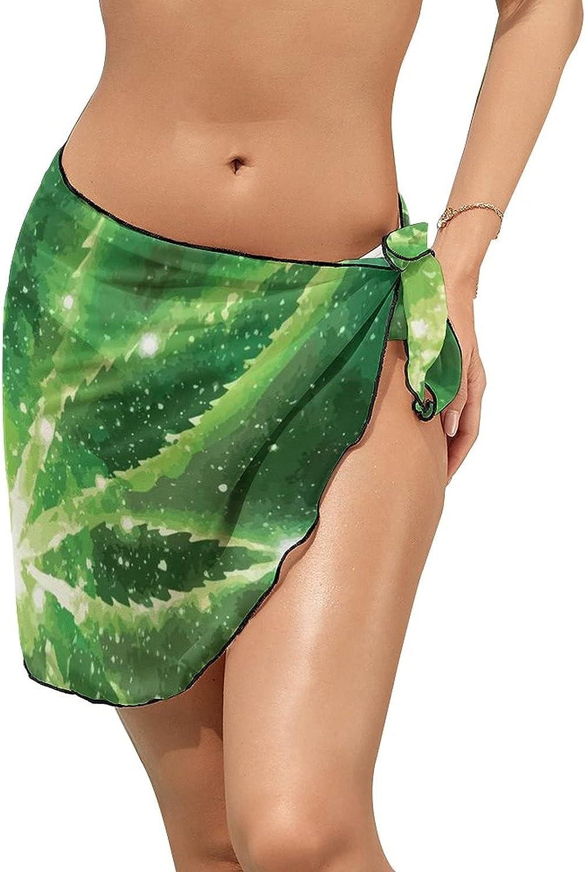 JINJUELS Women Beach Wrap Sarong Cover Up Weed Leaves So High Sparkling Sexy Short Sheer Bikini Wraps
