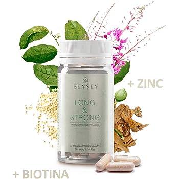Suplemento natural: Vitaminas para el cabello con Biotina +B3 +B5 +B6 +Zinc +Aminoácidos. Crecimiento capilar/Anticaída. Vitaminas pelo sano y fuerte. LONG&STRONG de Beysey - 30 cápsulas: Amazon.es: Belleza