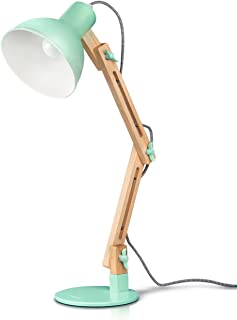 Tomons Swing Arm LED Desk Lamp, Wood Designer Table Lamp, Reading Lights for Living Room, Bedroom, Study, Office, Bedside Nightstand Lamp - Green