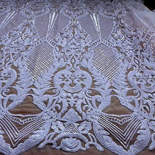 grass and Palace  embroidery lace sequins  lace fabric wedding lace in off white