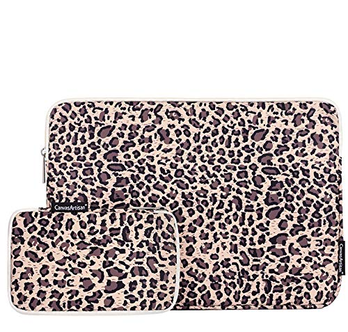 Laptop Sleeve Bag with Accessory Pouch Compatible with 13-13.3 inch MacBook Pro, MacBook Air, Notebook Carrying Case for iPad Pro 12.9 / Surface Pro X / 7 12.3 / Samsung Galaxy Tab S7+ 12 (Leopard)