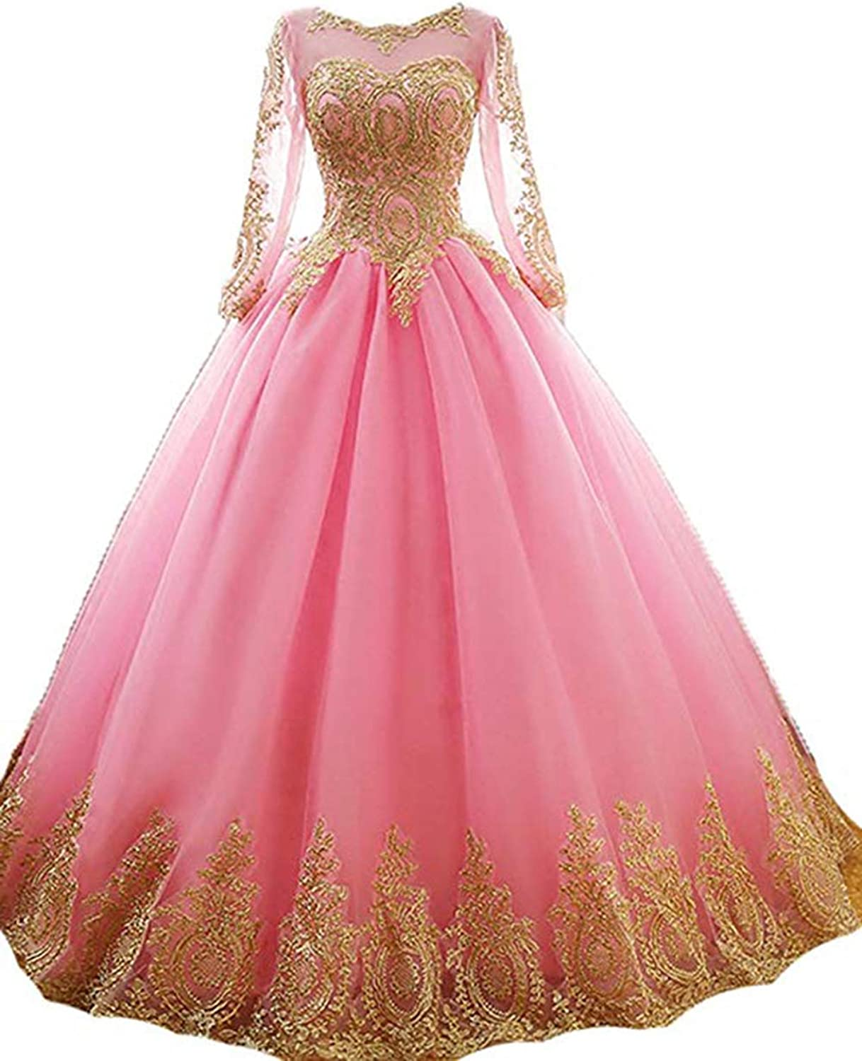 gold Lace Applique Quinceanera Dresses Long Sleeves Ball Gown Prom Dresses for Women
