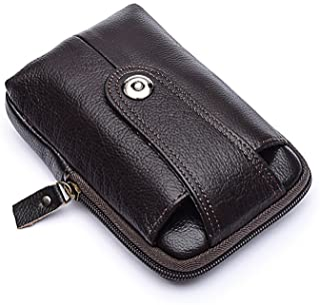 Combo Set!Unisex Simple Genuine Leather Zip Around Clutch Purse Wallet Card Case Money Organizer Phone Holder with Wristlet