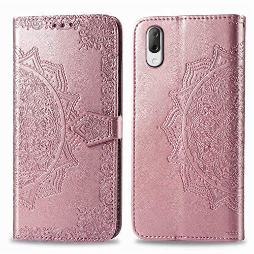 Bear Village Hülle für Sony Xperia L3, PU Lederhülle Handyhülle für Sony Xperia L3, Brieftasche Kratzfestes Magnet Handytasche mit Kartenfach, Roségold