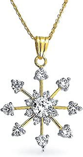 Fashion Cubic Zirconia Christmas CZ Holiday Snowflake Pendant Necklace for Women for Teen 14K Gold Plated Brass
