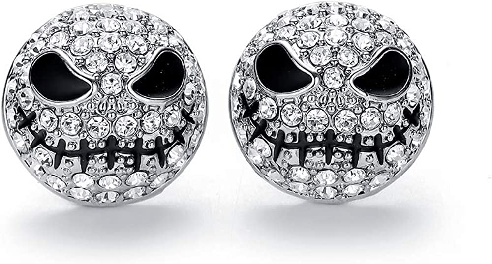 hanreshe Crystals Skull Stud Earrings Jack Silver Color Circle Small Earrings Nightmare Before Christmas Cartoon Gothic Jewelry for Women and Girls