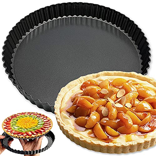 9 Inch Tart Pan,Non-Stick Quiche Pan,Non-Stick Pie Tart Baking Dish Pan,Non-Stick Tart Pan,Tart Pan with Removable Loose Bottom for Kitchen Cooking Baking