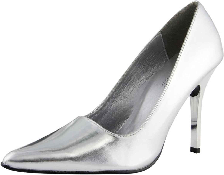 The Highest Heel Women's CLASSIC Silver Metallic Pump 9 B(M) US