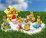 Dekoleidenschaft 6 TLG. Oster-Deko Hasendorf, handbemalt, mit Keramik-Haus als Teelichthalter und 5 Hasenkindern