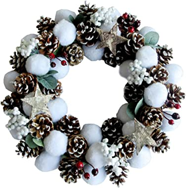 ALEKO CHDWP16WH Whimsical Holiday Christmas Cotton Wreath with Pine Cones and Cranberries