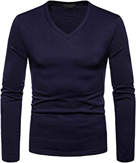 Aaaaamber Men's Autumn Winter Thermal Bottoming Shirt Long Sleeve Fleece Lining Slim Fit V-Neck Tops Shirt