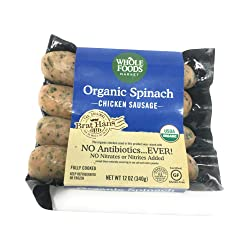 Whole Foods Market, Chicken Sausage Spinach Organic Step 3, 12 Ounce