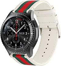 Handygear Sport Band Compatible Gear S3 Frontier Classic Galaxy Watch 46mm Smart Watch, 22mm Nylon Style Leather Sports Replacement Strap Samsung Gear S3 Frontier (S3 Canvas White)