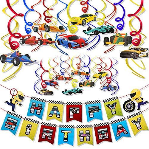 HOWAF Race Car Hanging Swirl Dekoration, Autos Thema Alles Gute zum Geburtstag Banner für Autos Themen Geburtstag Baby Shower Kinder Jungen Partyzubehör