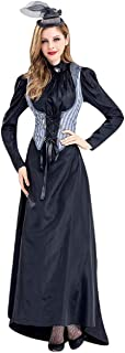 Tsmile Womens Puff Sleeve Dress Corset Bodice Vintage Halloween Cosplay Costume Bodycon Lace Up Witch Maxi Dress
