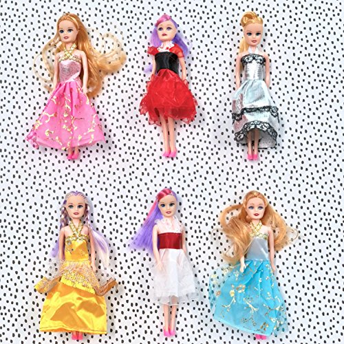 Butterfly Craze Miniature Doll Play-Set Bundle Princess Fashion Clothes Accessories. Great Birthday Party Favors, Tea Parties Dollhouses. 6' Tall (6 Doll Set)