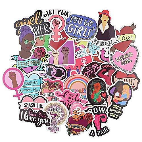 35pcs Feminist Themes Cartoon Scrapbooking Stickers Decal for Guitar Laptop Luggage Car Fridge Graffiti Sticker for Kids, Teens, Adults.