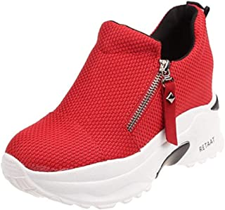 TAOFFEN Women Fashion Flatform Sneakers Zipper High Heels
