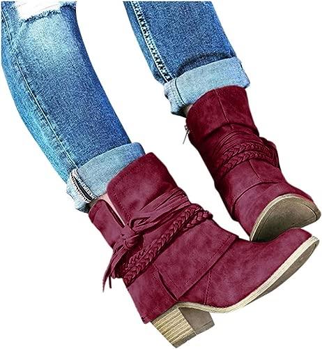 Damen Freizeit Mittlere Stiefel Einfarbig Britischer Stiefelies Flacher Boden Motorradstiefel