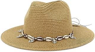 Outdoor Bucket Sun Hat Summer Women's Straw Sun Hat Party Shell Fringe Jazz Cap Vacation Sun Hat Floppy Hat Wheat Straw Hat (Color : Khaki, Size : 56-58CM)
