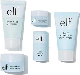 e.l.f, Jet Set Hydration Kit, 5 Piece, TSA-Friendly, Lightweight, Cleanses, Tones, Moisturizes, Nourishes, Includes Cleans...