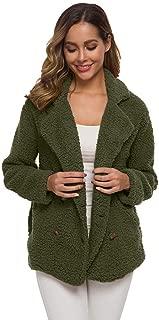 iHHAPY Women's Short Coat Warm Jacket with Button Plush Coat Winter Jacket Outerwear Long Sleeve Winter Parka Outerwear