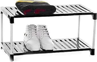 Dhani Creations Black Plastic Shelves with White Steel Rods Multipurpose Portable Folding Shoes Rack 2 Tiers Multi-Purpose Shoe Storage Organizer Cabinet Utility Rack Shoe Racks