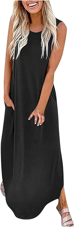 Women's Dresses Sleeveless V-Neck Maxi Sundress Casual Loose Beach Dress Soild Color Pocket Long Dress Split Dresses
