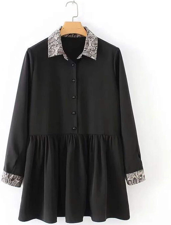 2018 Autumn Snake Printing Spliced Vintage Black Dress Women Turn Down Collar Loose Party Dress Long Sleeved Women