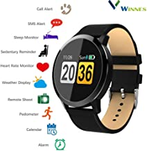 Smart Watch,Winnes Colorful Touch Screen Smart Bracelet Fitness Tracker Watch Pedometer Heart Rate Monitor Blood Pressure Activity Tracker Sleep Monitor Message Reminders (Black Leather)