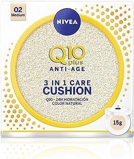 NIVEA Q10 3en1 Cushion Perfeccionador Facial Hidratante y Antiedad con Protector Facial Tono 02 Medio - 15 gr