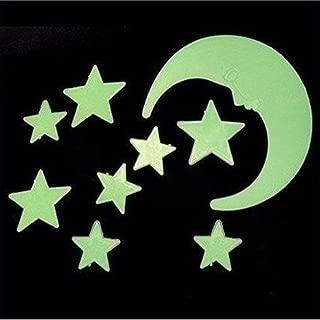 LIMITA Stickers muraux /étoiles Brillent dans le noir D/écor de chambre denfants lumineux 104pcs point rond vert, A