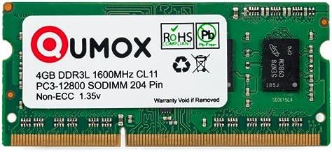 QUMOX Memoria SODIMM 4GB DDR3L-1600 204 Pines (1600Mhz, PC3L-12800S, CL11, 1.35V, Low Voltage) para ordenador portátil
