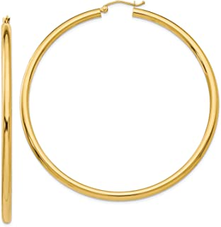 MCS Jewelry 14 Karat Yellow Gold Rounded Hoops Earrings 3mm Thickness (Available in 6 Different Sizes)