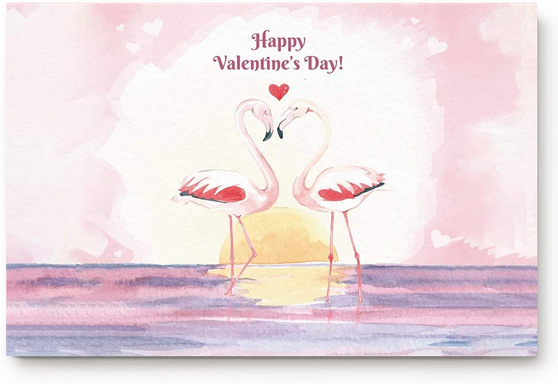 Eelivero Flamingo Happy Valentine's Day 20 x 32 inch Large Doormat Funny Rugs Indoor Kitchen Bathroom Entrance Floor Washable Non Slip Mats