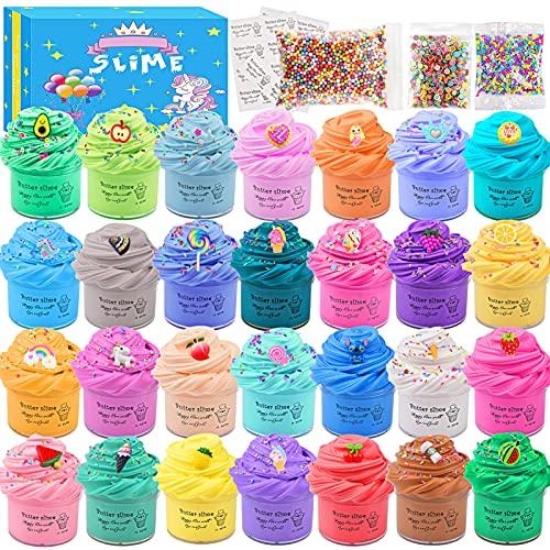 Luclay - Slime para niños, esponjoso, blando, superelásticos y no pegajosos, juguetes para aliviar el estrés, tipo plastilina para niños decoraciones de helados, dulces, paquete de 28, 18 unidades